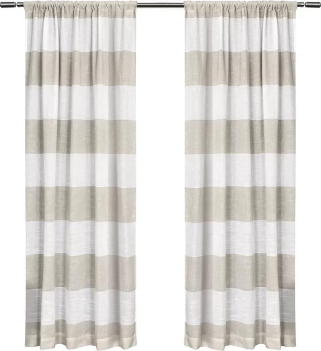 Plant+City+Striped+Sheer+Rod+Pocket+Curtain+Panels